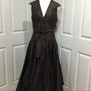 Teri Jon Brown Silk Taffeta Formal Dress Size 12